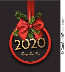 2020 happy New Year background with red 3d round frame and satin ribbon with beautiful bow. Winter decoration - Vector