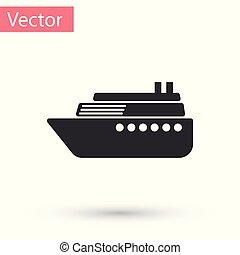 Grey Ship icon isolated on white background. Vector Illustration