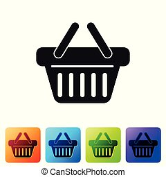 Grey Shopping basket icon isolated on white background. Set icon in color square buttons. Vector Illustration