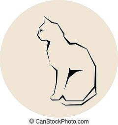 Grey silhouette of cat dark wild vector