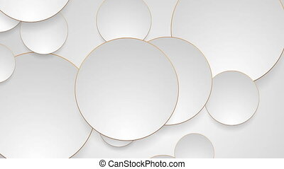 Grey silver circles with bronze luxury outlines video...