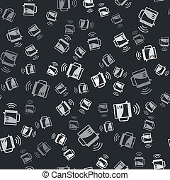Grey Smart electric kettle system icon isolated seamless pattern on black background. Teapot icon. Internet of things concept with wireless connection. Vector