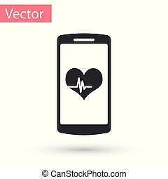 Grey Smartphone with heart rate monitor function icon isolated on white background. Vector Illustration
