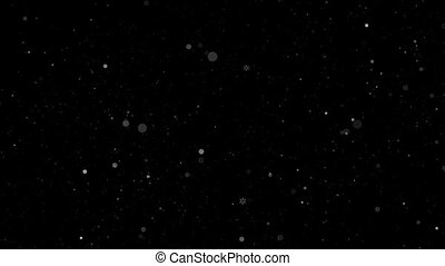Grey snowflakes falling in motion on a black background HD 1080x1920