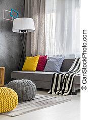 Grey sofa in modern lounge