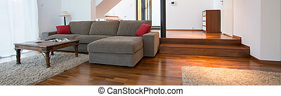 Grey sofa inside spacious interior - View of grey sofa ...