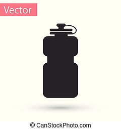Grey Sport bottle with water icon isolated on white background. Vector Illustration