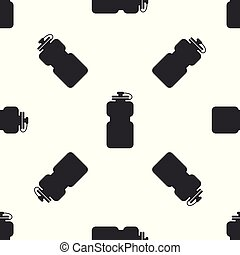 Grey Sport bottle with water icon isolated seamless pattern on white background. Vector Illustration