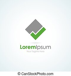 Grey square green tick mark simple business icon logo