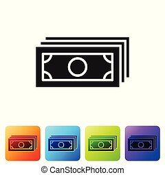 Grey Stacks paper money cash icon isolated on white background. Money banknotes stacks. Bill currency. Set icon in color square buttons. Vector Illustration