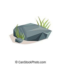Grey stones with green grass, landscape design element vector Illustration