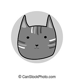 Grey striped cute cartoon style cat in shape of grey circle vector illustration