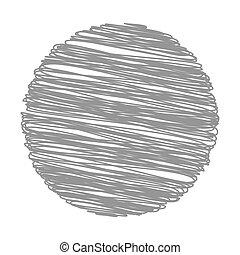 Grey Strokes Circle Pattern on White Background