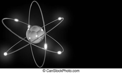 Grey stylized atom and electron orbits. Scientific motion background with free space for inscriptions. Nuclear, physics, atomic, science concepts. 4K seamless loop animation