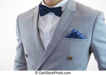 grey suit plaid texture, bowtie, pocket square - Man in grey...