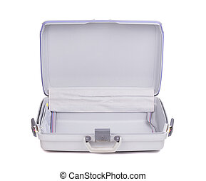 Grey suitcase isolated
