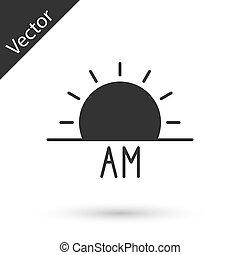 Grey Sunrise icon isolated on white background. Vector Illustration