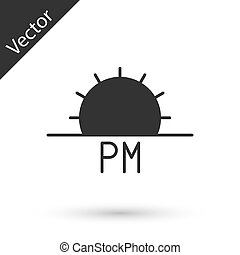 Grey Sunset icon isolated on white background. Vector Illustration
