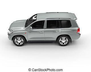Grey SUV isolated on white top view