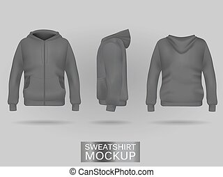 Grey sweatshirt hoodie template