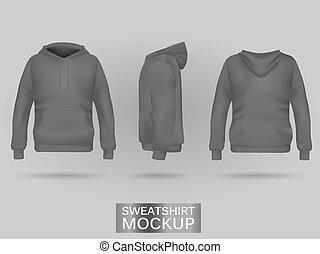 Grey sweatshirt hoodie without zip template in three...