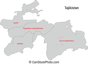 Grey Tajikistan map