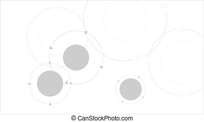 Grey tech circles abstract motion graphic design. Video animation HD 1920x1080