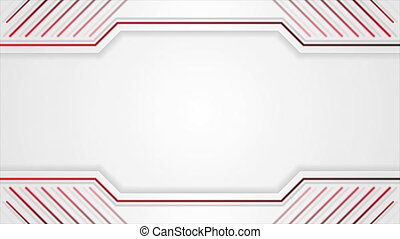 Grey tech geometric motion background with red lines