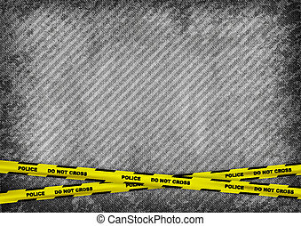 police tape - grey texture background with police tapes