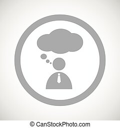 Grey thinking person sign icon
