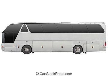 Grey tour bus.