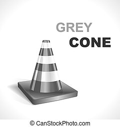 Grey Traffic Cone. Vector illustration