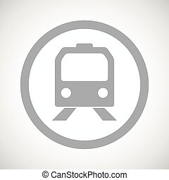 Grey train sign icon