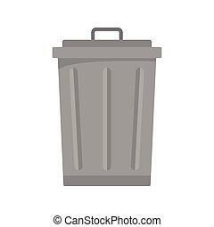 Grey trash bin icon, flat style