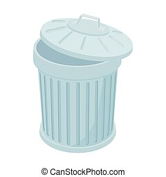 Grey trash can icon, cartoon style