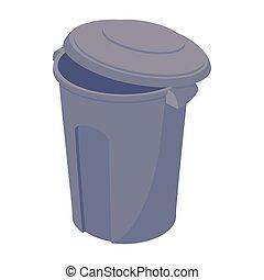Grey trash can icon, cartoon style
