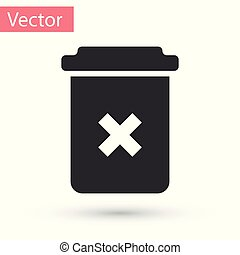 Grey Trash can icon isolated on white background. Delete icon. Garbage bin sign. Recycle basket icon. Office trash icon. Vector Illustration