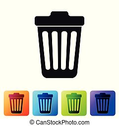Grey Trash can icon isolated on white background. Garbage bin sign. Set icon in color square buttons. Vector Illustration