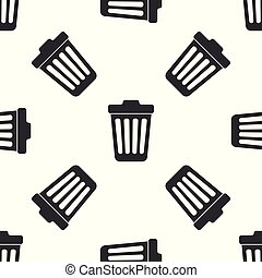 Grey Trash can icon isolated seamless pattern on white background. Garbage bin sign. Vector Illustration