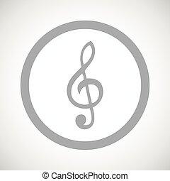 Grey treble clef sign icon