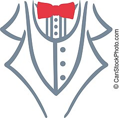 Grey tuxedo with red bow tie