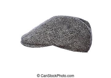 grey tweed flat cap isolated