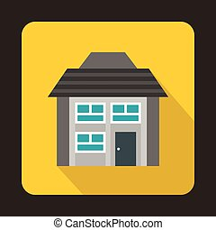 Grey two storey house icon in flat style