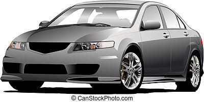 (grey), vector, grijs, sedan, auto, illustratie, road.