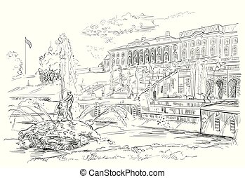 Scenic view of the Grand Cascade, sculptures and fountains on Peterhof Palace in Saint Petersburg, Russia. Isolated vector hand drawing illustration in black color on white background.