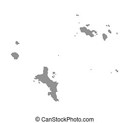 grey vector map of Seychelles
