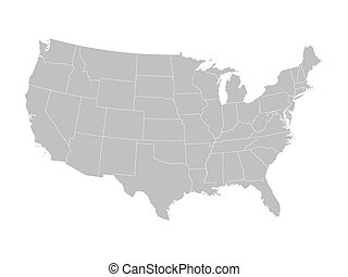 grey vector map of United States
