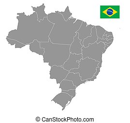Grey Vector Political Map of Brazil