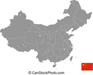 Grey Vector Political Map of China
