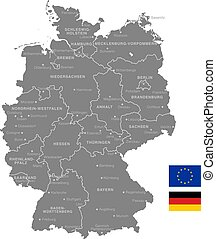 Grey Vector Political Map of Germany
